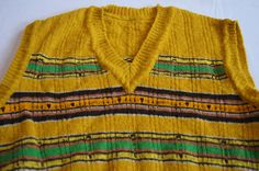 Vintage 1970's - Handknit Sweatervest - Yellow, Green, Brown, Orange by TheMercerStreetHouse on Etsy