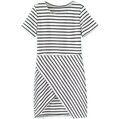 Choies Black And White Stripe Short Sleeve Wrapped Dress (1.670 RUB) ❤ liked on Polyvore featuring dresses, vestidos, multi, short-sleeve dresses, white and black dress, white black dress, stripe dresses and striped wrap dress