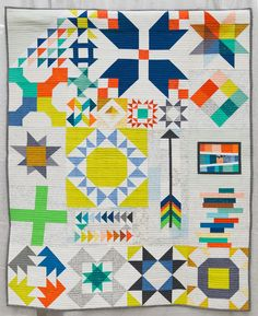 1st Place, Modern Traditionalism Long Island Modern Sampler  By Kim Soper of Centerport, New York. Pieced and quilted by Kim Soper. QuiltCon 2015