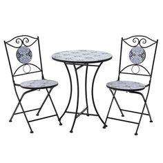 Δυο καρέκλες και ένα στρόγγυλο μεταλλικό τραπέζι με διακόσμηση μωσαικό σε γκρι, μπλε, μπορντώ.. Outdoor Tables, Outdoor Decor, Outdoor Furniture, Home Decor, Interior Design, Home Interior Design, Yard Furniture, Garden Furniture, Home Decoration
