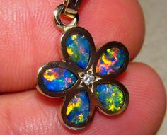 Fantastic Harlequin Opal & Diamond Flower Pendant 14k Gold