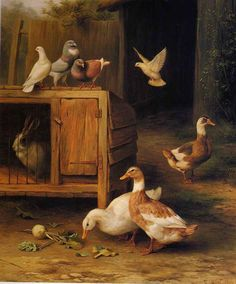 ART~ Thought You Ducks Only CameTo Visit The Rabbit ~ Edgar Hunt ♥•.¸¸.•´¯`•.♥