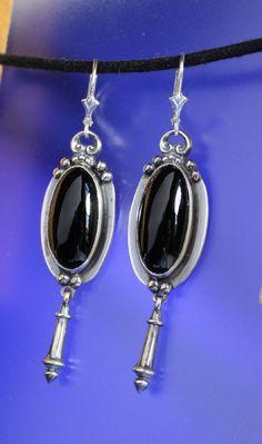 Black Onyx Earrings Sterling Silver Handcrafted by RichieStubStudio on Etsy