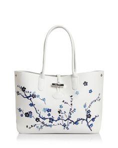 Longchamp Roseau Sakura Leather Shoulder Tote | Bloomingdale's