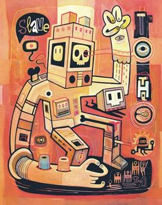 """Esclaves des robots... nous serons"" Art Print by Exit Man on Artsider.com 