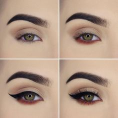 Step by step easy to follow eye makeup. Shimmer shades and winged liner. Eye makeup for weddings.