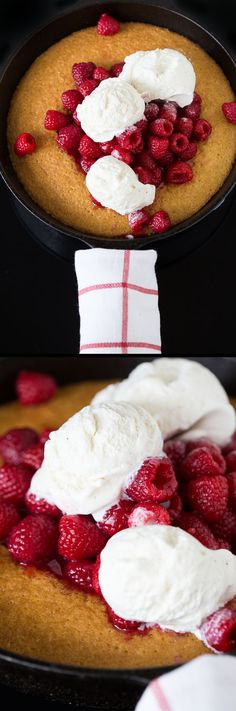Hot Raspberry Cake and Ice Cream: super quick, super easy, super delicious!