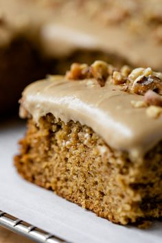 Made from homemade applesauce, this applesauce cake with caramel frosting is a moist and sweet treat! The rich, fall flavors complement the caramel frosting perfectly! 13 Desserts, Apple Desserts, Apple Recipes, Delicious Desserts, Cake Recipes, Dessert Recipes, Apple Cakes, Apple Spice Cake, Health Desserts
