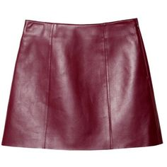 T by Alexander Wang Bordeaux Nappa Leather Skirt ($595) ❤ liked on Polyvore featuring skirts, mini skirts, bottoms, bordeaux, mini skirt, zipper mini skirt, zipper skirt, short a line skirt and purple skirt