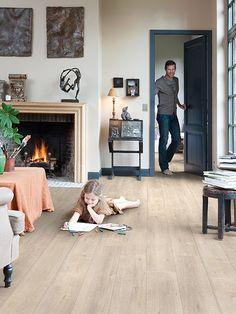 Quick-Step Laminate Flooring - Impressive 'Saw cut oak beige' in a classic living room. Waterproof Laminate Flooring, Laminate Flooring Colors, Basement Flooring, Living Room Flooring, Timber Flooring, Grey Flooring, Flooring Options, Kitchen Flooring, Hardwood Floors