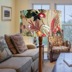 Tropical Dusk Floral Lampshade Light Shade for Ceiling image 0 Floral Lampshade, Lampshade Designs, Wildflower Drawing, Hanging Lamp Shade, Creation Deco, Cardboard Crafts, Unique Lamps, Ceiling Pendant, Light Pendant