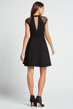 Lace Trimmed Flare Dress