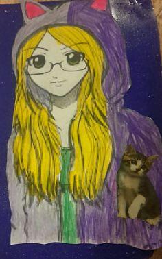 Dziewczyna kot na tle Galaxy🐱🐱🐱🐈🐈🐺🐺