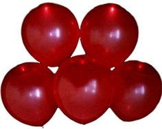 "Custom, Fun & Cool {Big Large Size 12"" Inch} 10 Pack of Helium & Air Inflatable Latex Rubber Balloons w/ Traditional LED Design [Bright Red Color] mySimple Products"