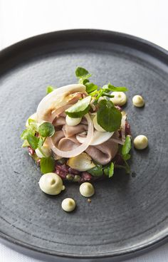 Salad of beef tartare, slow-cooked ox tongue and smoked mayonnaise by Paul Welburn