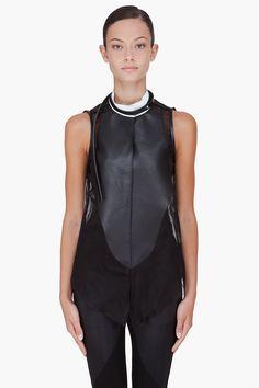 DENIS GAGNON Black Leather Panel Blouse