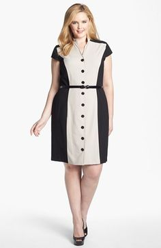 Calvin Klein Cap Sleeve Colorblock Dress (Plus) available at #Nordstrom