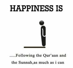 Happiness is following the Quran and the Sunnah as much as I can.