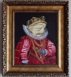 """Ricardo Coello Gilbert """"Ophas, regente de una insustancial fracción del universo"""" o """"El rey Sapo"""", 2016 Acrílico sobre lienzo 31x37cm"""