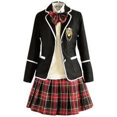 Japan School Uniform girls Dress Cosplay Costume Anime long sleeve... (145 BRL) ❤ liked on Polyvore featuring dresses