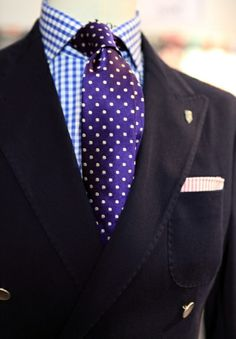 Purple polka dotted tie