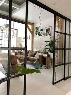 Maybe use these type of beams for walls on outside of family room by fireplace! DOORS could be used for living/dining room Home Interior Design, House Design, Home And Living, Room Design, House Interior, Apartment Decor, Home, Interior, Home Decor