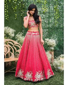 Alice in Bohemia collection by Mrunalini Rao. Stunning red color lehenga and blouse. Lehenga and blouse with floral design hand embroidery silver thread work. Indian Dresses, Indian Outfits, Mrunalini Rao, Indian Bridal Lehenga, Bridal Outfits, Indian Designer Wear, Ladies Dress Design, Indian Fashion, Women's Fashion