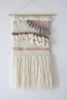 Blush, grey, white woven wall hanging | Woven wall art | Wall weaving| Tapestry wall hanging | Nursery wall decor | Baby shower gift by weavingmystory on Etsy https://www.etsy.com/listing/398125099/blush-grey-white-woven-wall-hanging
