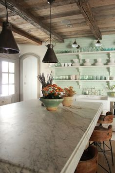 This rustic french style home designed by the oh-so-talented Desiree Ashworth of Decor de Provence was inspired by French, Gustavian, and Belgian design. Country Kitchen, New Kitchen, Kitchen Dining, Kitchen Decor, Kitchen Ideas, French Kitchen, Kitchen Inspiration, Kitchen Island, Cozy Kitchen