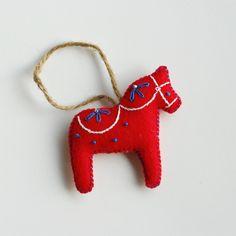 Red Dala Christmas Ornament   WIKSTEN
