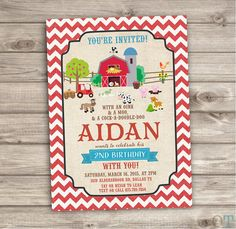 Farm Birthday Printable Invitations Rustic On the Farm Animals Barn Tractor Country Theme Party girl boy Fall First Birthday Chevron NV401