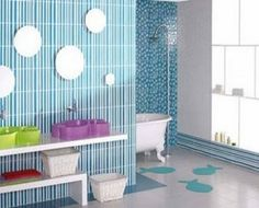 30 Spacious Bathroom Design with Line Colour on Wall