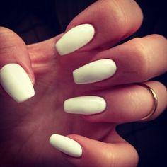 White matte squoval nails