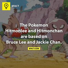 "The Pokemon ""Hitmonlee and Hitmonchan"" are based on Bruce Lee and Jackie Chan. Pokemon Facts, Pokemon Show, Pokemon Fan Art, Cool Pokemon, Pokemon Stuff, Gotta Catch Them All, Catch Em All, Weird Facts, Fun Facts"