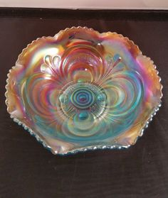 """Vintage Imperial Glass Blue Iridescent Carnival Glass 7 3 4"""" Bowl Marked   eBay"""