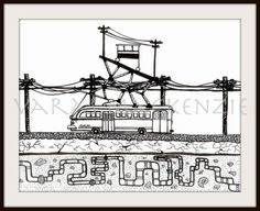 art illustration fine art print. Beatifull trolley bus and elevator of Valparaiso Chile /arte-impresion-de-ilustracion