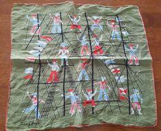 Vintage TAMMIS KEEFE FRENCH SAILOR Signed Designer Hanky Handkerchief