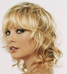 medium layered curls with bangs - Google Search