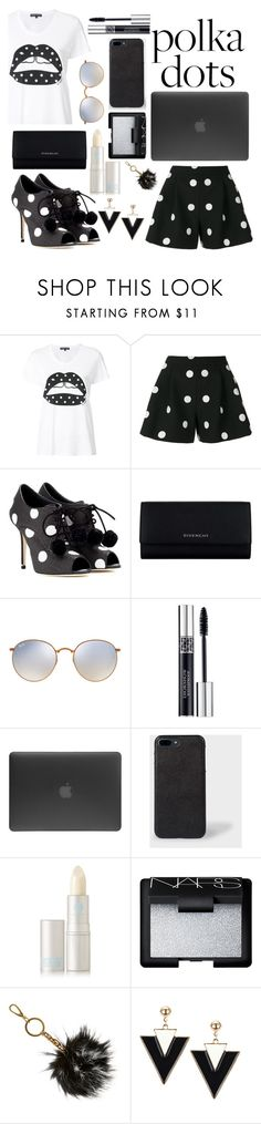 """""""Untitled #40"""" by glendamahala ❤ liked on Polyvore featuring Markus Lupfer, Boutique Moschino, Dolce&Gabbana, Givenchy, Ray-Ban, Christian Dior, Incase, Lipstick Queen, NARS Cosmetics and B Brian Atwood"""