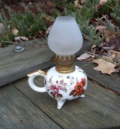 Vintage Miniature Oil Lamp Frosted Glass Floral Design. $14.00, via Etsy.