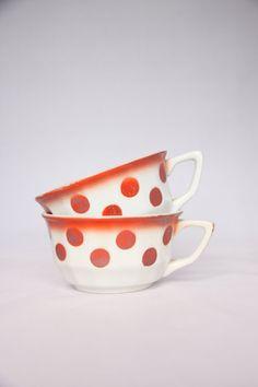 Orange red polka dot coffee cups French home decor by hipposdream, €26.00