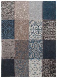 Louis De Poortere Vintage Patchwork Rug in 'Blue Denim'