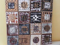 Graphismes africains: empreintes d'objets hétéroclites sur papier blanc, brun et noir.