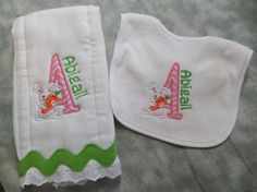 Personalized and appliqued burp cloth and terry cloth bib for baby boys and girls with bunny