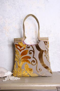 Gold Copper tapestry bag with burlap. Madebynana