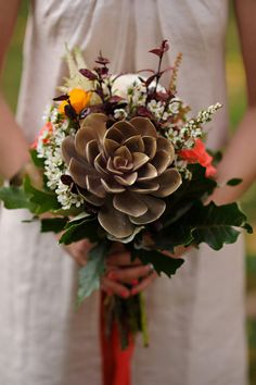 succulents in a bouquet - so lovely Fall Bouquets, Wedding Bouquets, Wedding Flowers, Fall Flowers, Purple Flowers, Wedding Dresses, Fall Wedding, Our Wedding, Dream Wedding