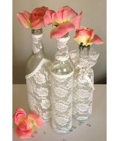 SET(3)- Decorated Wine Bottle Centerpiece Ivory Lace. Wine Bottle Decor. Wedding Table Centerpieces. Centerpiece Ideas.