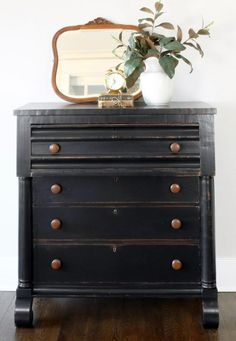 """I spruced up this Empire Dresser with General Finishes Lamp Black Milk Paint and Flat Top Coat. Black Painted Furniture, Chalk Paint Furniture, Find Furniture, Furniture Makeover, Painted Dressers, Dresser Makeovers, Vintage Dressers, Furniture Design, Furniture Ideas"