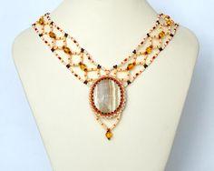 Calcite necklace on wide chain N268 by Fleur-de-Irk.deviantart.com on @DeviantArt