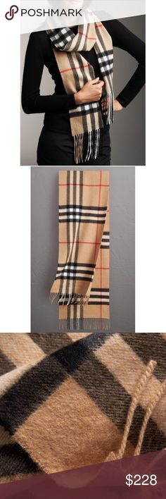 """Authentic Burberry Classic Check Cashmere Scarf 100% authentic Burberry cashmere scarf in classic large check pattern/camel color combo. With a generous length & super soft cashmere, there are countless ways to style (drape, wrap, knot, etc.) & keeps you warm. Features long fringe at both ends. Approximate length- 78""""/6""""W. Dry clean only. Made in Scotland. Purchased at Von Maur-  no longer have receipt. See last two photos for minimal signs of wear- overall good condition. Burberry…"""
